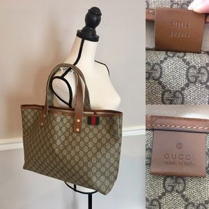Authentic Gucci coated canvas brown tote